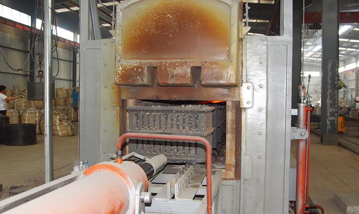 (despedida horizontal) línea de producción de fundición en arena de moldes de hierro